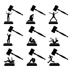 People in Court, set of humorous cartoons