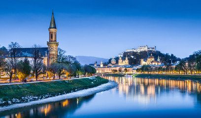 Salzburg skyline panorama with river Salzach at dusk, Austria