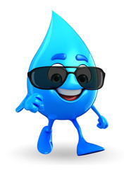 Water Drop Character with sun glasses