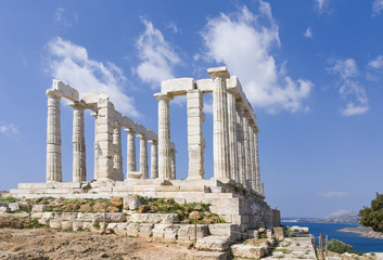 Sanctuary and temple of Poseidon at cape sounio, Attica, Greece