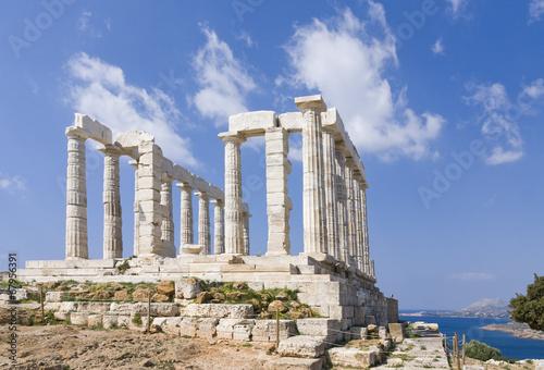 Leinwanddruck Bild Sanctuary and temple of Poseidon at cape sounio, Attica, Greece