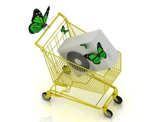 shopping yellow trolley in high definition with green butterfly