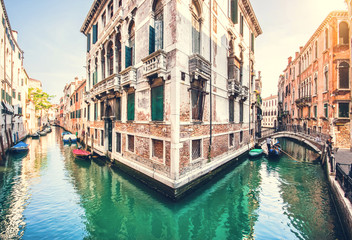 Romantic scene in Venice, Italy with retro vintage filter effect