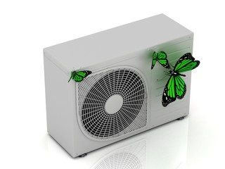 3 green butterfly sits on a new street conditioner