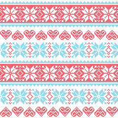 Winter, Christmas seamless pixelated pattern with snowflakes