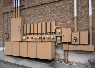 Electric panels on a commercial building