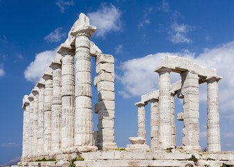 Poseidon Temple at Cape Sounion. Travel background