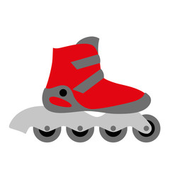 red inline roller skate boot icon - wheels - symbol of sport