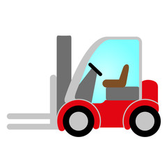 red forklift truck icon with cabin - symbol of logistic