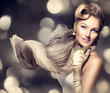 Retro Woman Portrait. Beauty Glamour Lady with blowing scarf