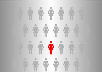 Frau im Zentrum - Mittelpunkt