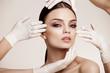Leinwandbild Motiv Beautiful  Woman before Plastic Surgery Operation Cosmetology. B