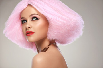 Hair. Portrait of Beautiful Woman with Pink Hair. High quality