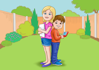 Children in Garden with ipad etc