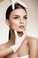 Beautiful  Woman before Plastic Surgery Operation Cosmetology. B