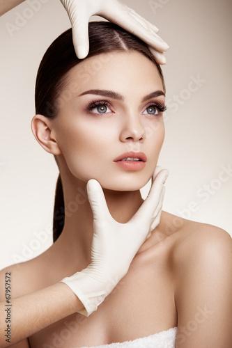 Naklejka Beautiful Woman before Plastic Surgery Operation Cosmetology. B