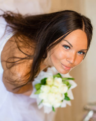Portrait of beautiful happy bride