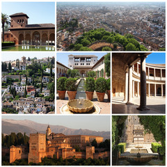 collection of photos from Alhambra in Granada, Spain