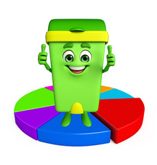 Dustbin Character with circular business graph