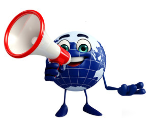Globe Character with Loudspeaker