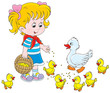 Little girl feeding a duck and ducklings