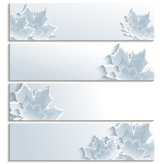 Set of horizontal banners with gray 3d maple leaf