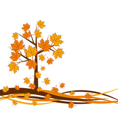 Vector autumn tree background