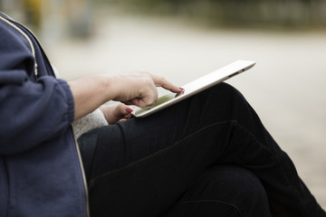 Woman with tablet PC.