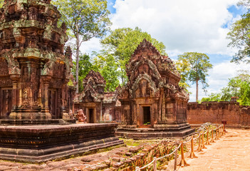 Banteay Srei Temple ancient ruins in sunny day