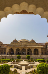 Garden inside Amber fort in Jaipur India