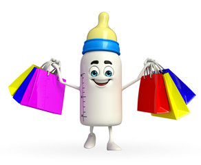 Baby Bottle character with shopping bag