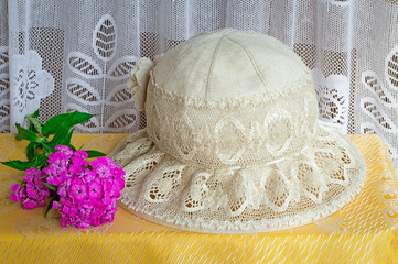 Female summer hat for protection against the sun during summer h