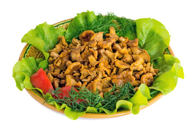 Fried mushrooms of chanterelle on a dish together with lettuce l