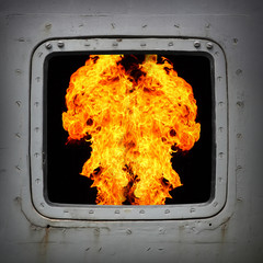 Burning gas in the furnace.