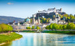 Leinwandbild Motiv Salzburg skyline with river Salzach in springtime, Austria