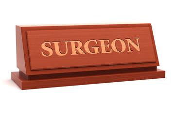 Surgeon job title on nameplate