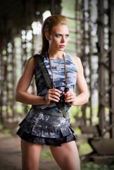 Woman in uniform with binoculars (normal ver)