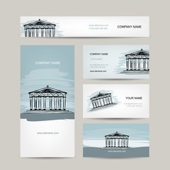 Business card design, antique style building with columns