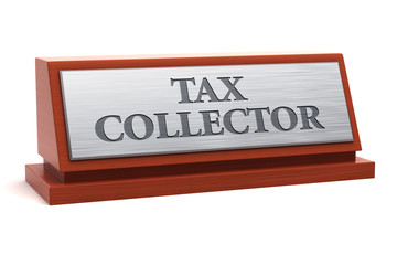 Tax collector job title on nameplate