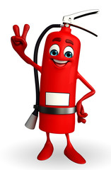 Fire Extinguisher character with victory sign