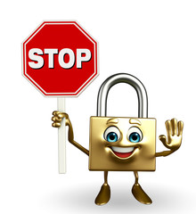 Lock Character with stop sign