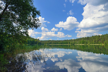 Views to a beautiful lake in Lithuania