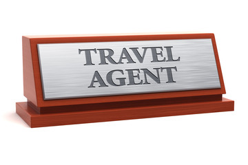 Travel agent job title on nameplate