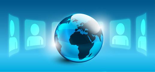 mondo, pianeta, informazione, girotondo, omini, silhouette