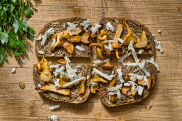 toast with girole mushroom and cheese