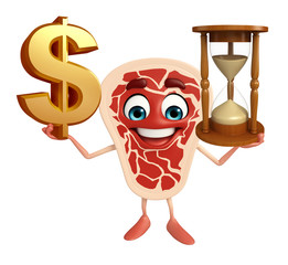 Meat steak character with dollar sign & sand clock