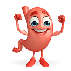 Cartoon Character of stomach with  bodybuilding