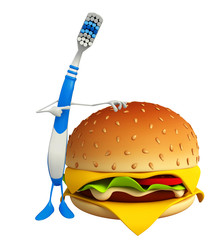 Toothbrush Character with burger