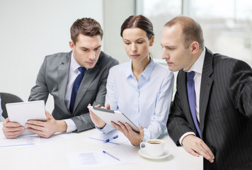 business team with tablet pc having discussion