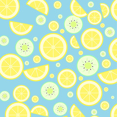 lemon and kiwi on blue background